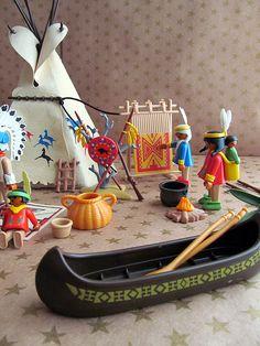 Vintage Playmobil Lot Indian Camp 3733 by jujubeezgems on Etsy