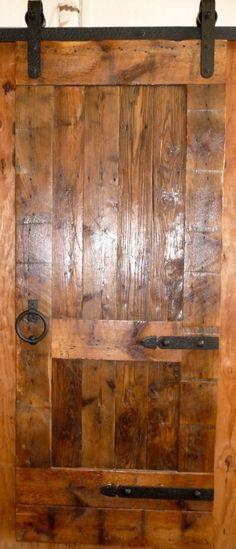 Sliding Barn Door - Antique Reclaimed Wood - Adjustable Length - Custom Hardware