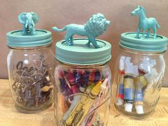 Art jars with animals, because I have  zillion little plastic horses