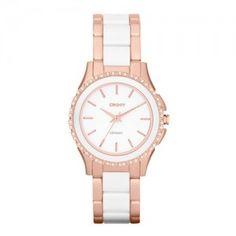 f134a81ed363 Women's DKNY 'Westside' Round Two Tone Ceramic Bracelet Watch, - Silver/  White Cyber Monday Black Friday Walmart