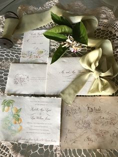 A custom watercolor wedding invitation by papermelange.com. Destination, Ravello Italy.
