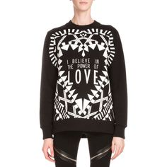 Givenchy Power of Love Long-Sleeve Graphic Sweatshirt ($1,255) ❤ liked on Polyvore featuring tops, hoodies, sweatshirts, black, givenchy sweatshirt, graphic pullover, crew neck sweatshirts, sweater pullover and crew-neck sweatshirts