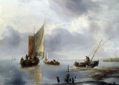 Jan van de Cappelle - A Small Vessel in Light Airs, and Another Ashore [c1650-60]