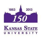 The logo celebrating 150 years of excellence at Kansas State University.