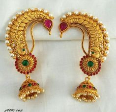 Gold Ring Designs, Gold Bangles Design, Gold Jewellery Design, Indian Earrings, Indian Jewelry, Gold Temple Jewellery, Gold Jewelry Simple, Necklace Designs, Pendant Jewelry