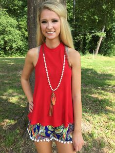 #Street #Style #HighNeck #ILoveMyCotton #Summer2016 Short Outfits, Summer Outfits, Cute Outfits, I Love Fashion, Autumn Fashion, Pom Pom Shorts, High Neck Tank Top, Tank Top Outfits, Red High