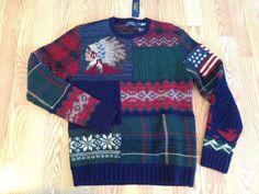 Polo Ralph Lauren motif patch work flag chief Indian head fair isle sweater  M  PoloRalphLauren b683c88fb5c1a