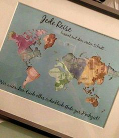 Individual Gift Idea * World Map * Money Gift - Money Gifts - Wedding - . Individual Gift Idea * World Map * Money Gift – Money Gifts – Wedding – Handmade with Love in Cologne, Germany by Still Love Don D'argent, Diy Wedding, Wedding Gifts, Wedding Present Ideas, Origami Wedding, Trendy Wedding, Wedding Favors, Wedding Ideas, Diy Cadeau