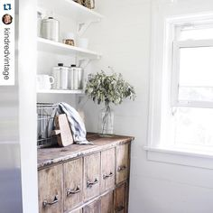 #Repost @kindredvintage I love peeking around the corner in our kitchen to this bright and sunny spot. This file cabinet I found before we became home owners is the perfect fit for the space. Sometimes you just need to take the risk and purchase that huge piece of 'Paul Bunyan' furniture you have absolutely no use for, but can't live without!