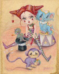 Cirque des merveilles à tirage limitée signée numérotée pop lowbrow de Simona Candini Art surréaliste gros yeux dragon singe éléphant