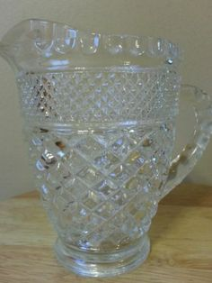 Anchor Hocking Wexford Clear Glass Footed Creamer in Mint Condition