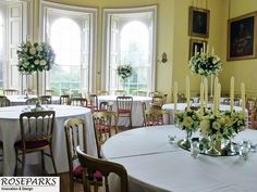 Wedding tablecentres at beautiful scottish castle venue - http://www.oxenfoord.co.uk/.