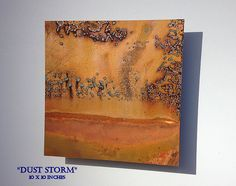 Copper Art Abstract Patina Painting Dust Storm 10 x by Copperhead, $65.00