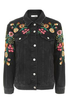 MOTO Floral Embroidered Denim Jacket