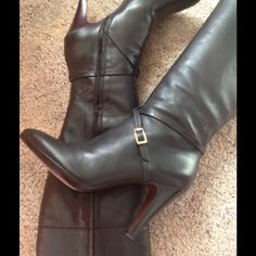 "💥SALE💥BR Sophia Leather Boots HOST PICK🎉 Beautiful black leather, 3"" heel, just under 1/2"" platform. Full zip. Gold metal buckle detail, crossed leather straps. Leather soles. Tall boots, measure 15"" from back heel. Made in Brazil. Red leather lining. These have been worn so soles reflect that but heels are still great. Overall in excellent condition. This is the perfect boot for dresses and skirts. You could also tuck in jeans or other pants. Already reduced. Price firm unless bundled…"