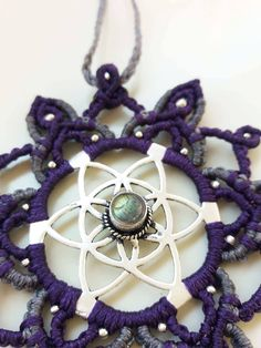 Micromacrame Mandala Necklace with Labradorite Gemstone, Labradorite Macrame Necklace, Macrame Jewelry, Festival Healing Jewelry