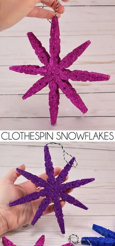 Snowflake ornaments made out of clothespins are genius! Snowflake ornaments made out of clothespins are genius! Diy Christmas Decorations Easy, Christmas Crafts For Kids, Diy Christmas Ornaments, How To Make Ornaments, Homemade Christmas, Simple Christmas, Christmas Projects, Holiday Crafts, Christmas Holidays