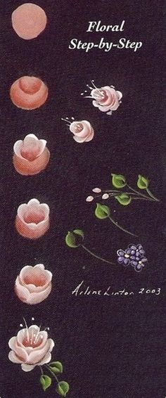 . Floral step by step painting. Rose painting, flower painting.