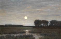 Hans am Ende. Landschaft im Mondschein. Um 1900.  Öl auf Leinwand. 46 x 69 cm.