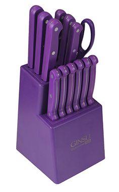 14 Piece Ginsu Purple Kitchen Knife Set - Purple Block from The Purple Store! Magenta, Shades Of Purple, Deep Purple, Purple Home, Purple Kitchen Accessories, Purple Kitchen Decor, Kitchen Colors, Kitchen Ideas, Global Knife Set