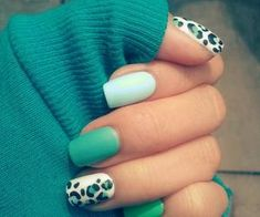 #Green nail art #animal print nail art Come visit kpopcity.net for the largest discount fashion store in the world!!