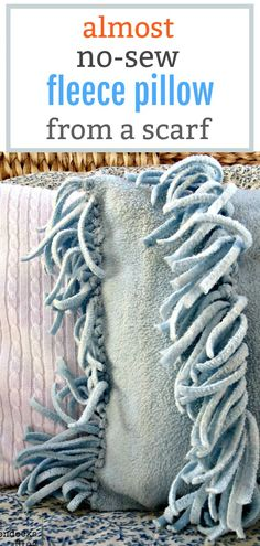 Almost No-Sew Fleece Pillow Diy Sewing Projects, Macrame Projects, Yarn Projects, Sewing Hacks, Easy Crafts, Diy And Crafts, Boondocks, Pillows, Cushions