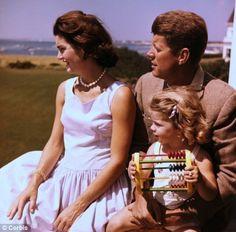 Jacqueline, Caroline, and John F. Kennedy