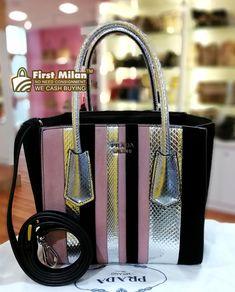 aa0dc2de77 PRADA Saffiano Lux Platino Wallet On Chain. Price ~ RM4