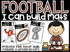 Football Play Dough Mats [I can Build Mats] | TpT Dry Erase Markers, Play Dough, Vocabulary Words, Letter Writing, Literacy Centers, Social Studies, Super Bowl, I Can, Something To Do