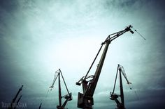Silhouettes of industrial cranes in Gdansk shipyard Surreal Art, Silhouettes, Surrealism, Industrial, Gallery, Tights, Surreal Artwork, Roof Rack