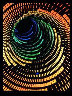 """UV Schwarzlicht Baumwoll Tuch Poster """"3D SPIRALE"""" #blacklight #schwarzlicht #wallpaper #neon #helix #psy #deco"""