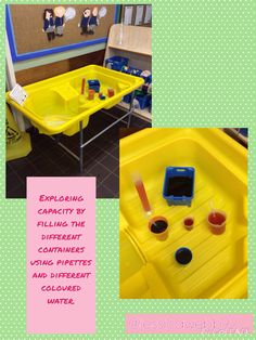 Exploring capacity with different containers and different coloured water. EYFS