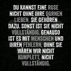 Du kannst eine Rose nicht ohne ihre Dornen lieben. Sie gehören dazu. Sonst ist sie nicht vollständig. Genauso ist es mit Menschen und ihren Fehlern, ohne sie wären wir nicht komplett, nicht vollständig. ~ Spruchbilder24.de - Die besten Sprüche und Zitate als Bilder!