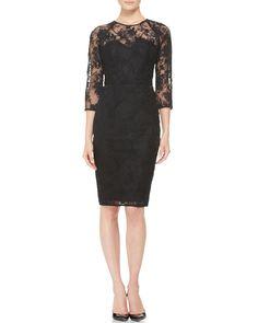 Lela Rose 3/4-Sleeve Lace Dress - Neiman Marcus