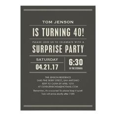 Surprise 40th Birthday Invitations 50th Party Favors