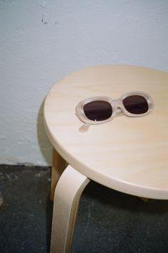 The Bikini Vision Sunglasses - Bone White / Vintage Blue