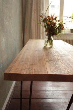 Esstisch Teak Tisch recycling Alt Holz Bauholz vintage massiv braun ...