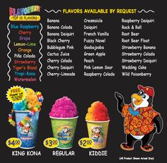 Kona Ice Experience~We are a state of the art, tropical shaved ice vehicle. We shave the ice soft as snow! We carry over 40 awesome flavors; Shave Ice Syrup Recipe, Shaved Ice Recipe, Banana Colada, Strawberry Colada, Hawaiian Ice, Hawaiian Shaved Ice, Sno Cone Syrup, Sno Cones, Kona Ice