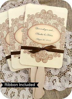 Personalized Wedding Favor Fans - Vintage Lace