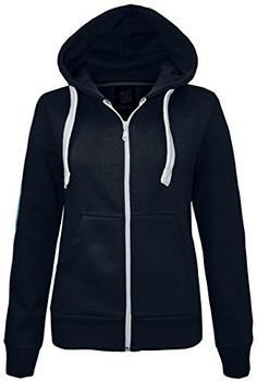 NEW LADIES WOMENS PLAIN HOODIE HOODED ZIP TOP ZIPPER SWEATSHIRT JACKET COAT ** To view further for this item, visit the image link.