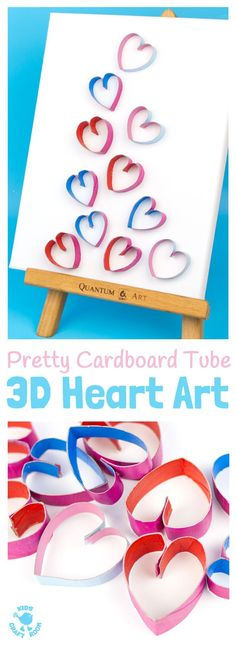 3D CARDBOARD TUBE HEART ART recycles TP rolls into beautiful pictures! Introduce kids to art that isn't flat! Working in 3D can be very exciting! 3D Heart Art is a lovely Valentine's Day craft for kids and makes adorable homemade gifts for Mother's Day or Grandparent's Day. #valentine #valentinesday #valentinescraft #valentinecraft #valentinescrafts #valentinecrafts #valentinesdayforkids #heart #love #kidscrafts #kidsart #kidscraftroom #recycled #cardboardtube