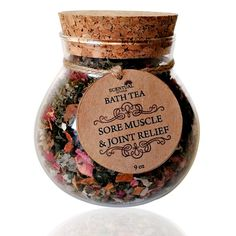 This listing comes in a luxurious 16 oz reusable glass vase shaped jar with a cork stopper and includes:  Organic Botanical Sore Muscle & Joint Relief Aromatherapy Bath Tea (Large Size 16 oz) 1 Reusable Muslin Bag Comes packaged in a kraft brown box ready for gifting! ----------------------------------------------------------------------------------- Nothing is so relaxing than a warm Bath infused with Organic Botanicals and Pure Essential Oils to make you feel special after a hard long d...