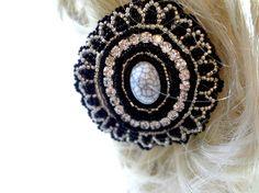 Brilliant Black and Silver Beaded Hair Clip   Megan's Beaded Designs