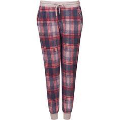 TOPSHOP Brushed Check Joggers (£10) ❤ liked on Polyvore featuring bottoms, pajamas, pants, pijamas, sleepwear, cream, cotton pajamas, topshop, cotton pjs and cotton sleepwear