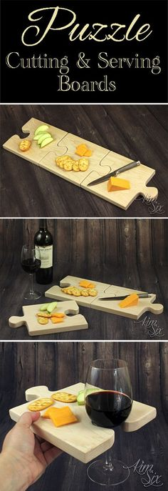 A set of puzzle piece shaped cutting boards that combine together to form one large cutting board, or separated can be used individually as serving trays with built in wine glass holders.jpg