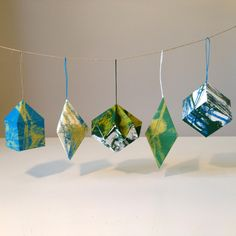 screen printed paper ornaments
