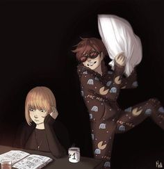 Mischief at Wammy's house.... XDDD Those pajamas!