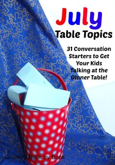 """It's time for the July Table Topics!  Each month conversation starters are shared with you to use at the table to get your kids talking. This month's table topics all ask the question, """"What would you do if…"""" All you need to do is print theJuly Table Topics. Cut them apart. Place them in …"""