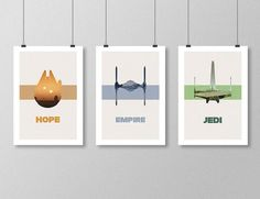 "STAR WARS Original Trilogy Movie minimalista cartel conjunto - 13 ""x 19"" (33 x…"