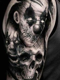 Tattoo uploaded by Daniel Martin Evil Clown Tattoos, Evil Skull Tattoo, Skull Sleeve Tattoos, Creepy Tattoos, Demon Tattoo, Skull Tattoo Design, Head Tattoos, Badass Tattoos, Tattoo Sleeve Designs